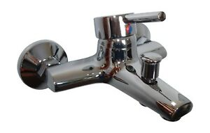 BATH SHOWER MIXER TAPS, WALL MOUNTED, 1/4 TURN SINGLE LEVER, BRASS & CHROME, 134