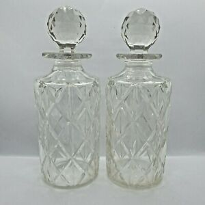 Pair of Vintage Crystal Cut Glass Decanters Bottles and Stoppers 26 cm Tall