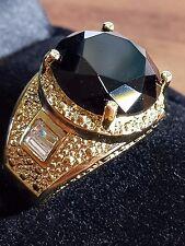 Millionaire 18CT YELLOW GOLD GF MEN,S BLACK SAPPHIRE QUARTZ RING SIZE 8 US