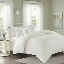 White 4 Piece Bed in a Bag Comforter Bedskirt Shams 100% Cotton Chenille