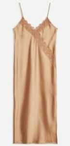 Ladies Topshop Bronze Lace Satin Slip Dress UK Size 8 RRP £39.00