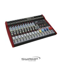 SWAMP 10 Channel Mixing Desk Console 8 Preamps, FX, AUX, USB, MP3, Bluetooth