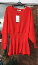 BNWT RED LONG SLEEVE SINCHED WAIST JUMPER TOP SIZE Ml