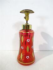Perfume Bottle Atomizer Vintage German Red Flash Hand Painted Flower Brass Label