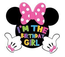 DISNEY  I'M THE BIRTHDAY GIRL MINNIE MOUSE  T-SHIRT IRON ON TRANSFER