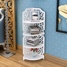 Shabby White 4 Tier Carved Corner Shelf Unit Bathroom Storage Bookcase Display