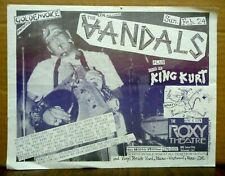 Original 1980s Punk Flyer Gig The Vandals & King Kurt @ The Roxy + Bonus Fanzine