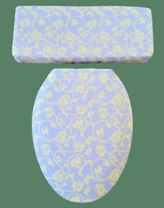 Lavender and Yellow Scrolling Bathroom Decor Elongated Toilet Seat Lid Cover Set
