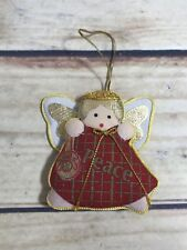 Christmas Small Angel Peace Ornament Red Gold Color Fabric Holiday Tree Decor