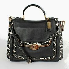NWT COACH 27849 MADISON SMALL SADIE FLAP TWO-TONE PYTHON EMBOSSED SATCHEL BLACK