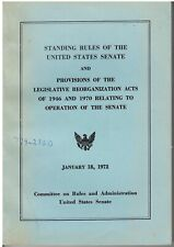 Vintage Standing Rules of The U.S. Senate (1972), Paperback Book