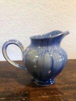 Edgecomb Pottery Maine Blue Drip Glaze Pitcher, Excellent, Signed
