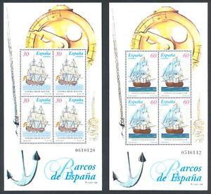 ESPAÑA 1996 - 2 HOJAS BLOQUE EDIFIL 3415/6** - BARCOS DE ÉPOCA - MNH