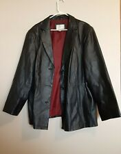 Worthington Womens Leather Jacket Plus Size 3X Black Button Front Soft 3 Button