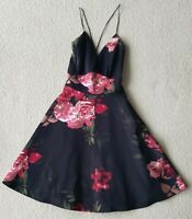 Stunning Black Floral A-line Dress from Ax Paris. Size 8.