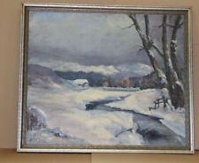 Winter Landschaft mit Bach - Öl auf Leinwand - signiert mit Holzrahmen - 109x94