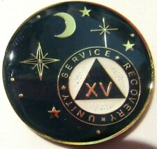 New listing Black Gold White Moon Alcoholics Anonymous Aa 15 Year Medallion Token Coin Chip