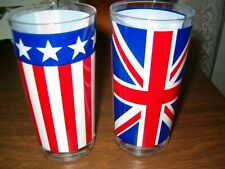 Vintage Set of 2 Signed Georges Briard Highball Glasses Red White Blue Flag Look