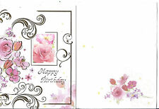Lot 3 Greeting cards + 3 envelope, Happy Birthday Flower Wishes cake
