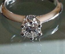 Anello Solitario Diamante Naturale Brillante Oro 18Kt fidanzamento matrimonio
