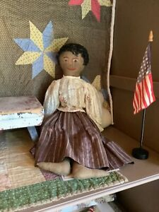 """Very early 21"""" black doll cloth doll pre 1900 sweet face!"""