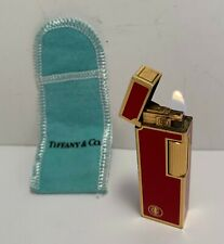 Tiffany Red and Gold Plated Lighter with Pouch, IT WORKS!