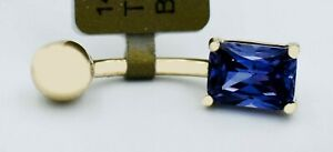 AAA 0.80 Cts TANZANITE BELLY NAVEL RING 14K Solid Gold * NEW WITH TAG *