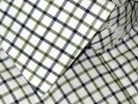 $675 NEW TOM FORD WHITE GREEN BLACK GRID HAND MADE DRESS SHIRT EU 45 17.75 17.5