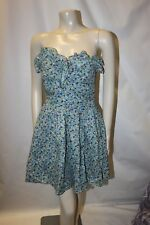 Ladies Blue Floral Strapless Cotton Dress Size 10 Tea Frock QED London