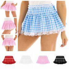 Sexy Women Men Gingham Pleated Mini Skirt Schoolgirl Short Dress Cosplay Costume