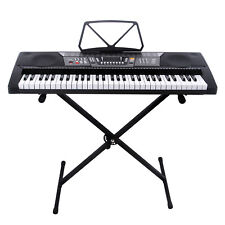 61 Key Electric Piano Organ Music Digital Electronic Keyboard with Stand Black