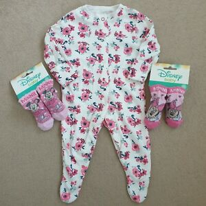 Baby Girl Bundle 0-3 Months Sleepsuit Minnie Mouse Socks New