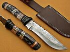 CUSTOM HANDMADE DAMASCUS STEEL BOWIE KNIFE,BLACK MICARTA/ SHEATH EVERYDAY CARRY