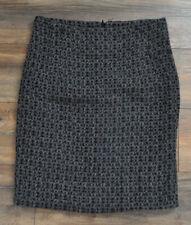 Zara Basic Ladies Wool Blend Straight Winter Skirt XL Grey Black Patterned