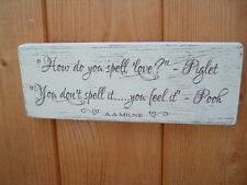 shabby vintage chic distressed pooh piglet quote how do you spell plaque sign