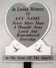 Memorial White Silver Sparkle Doves Grave Personalised Temporary Headstone Heart