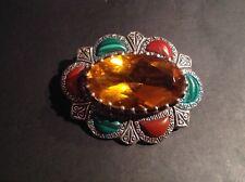 13g Solid silver 925 malachite carnelian crystal Scottish Celtic oval brooch pin