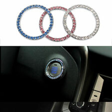 White Car Crystal Ignition Key Ring Auto Push to Start Decorated Rhinestone Ring