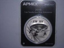 2016-P Tuvalu $1 1 Oz Silver Star Trek - Enterprise GEM UNC SILVER COIN APMEX