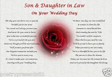 SON & DAUGHTER IN LAW- Wedding Day (Poem gift)
