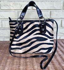 maurizio taiuti Fur Tiger Animal Print Black Patent Leather Tote Shoulder Bag