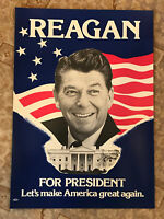 "Ronald Reagan For President Poster Let's Make America Great Again 15"" x 21"""