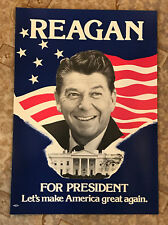 "1980 Ronald Reagan For President Poster Let's Make America Great Again 15"" x 21"""