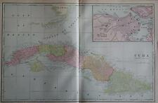 1902 Cuba Original Large 2-page Color Atlas Map* 115 years-old!