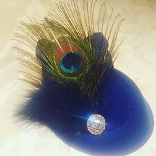 Royal Blue & Navy Feather & Crystal 1920s PillBox Hat Fascinator Hair Clip