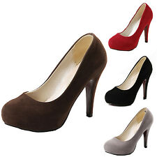 WOMENS SUEDE PUMPS NEW LADIES PLATFORM STILETTO HIGH HEELS COURT SHOES SIZE 0-10