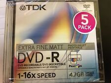 DVD-R TDK 1-16x 4.7GB 5PZ VERGINI DVD PRINTABLE SLIM Jewel Case EXTRA FINE MATT
