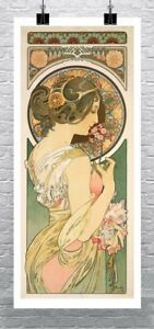 Polyanthus 1899 Alphonse Mucha Art Nouveau Rolled Canvas Giclee Print 17x36 in.