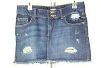 Mossimo Womens Juniors Size 7 Blue Distressed Ripped Frayed Hem Denim Jean Skirt