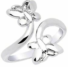 White Gold Gp 925 Sterling Silver Butterfly Adjustable Toe Ring for Women's 14K
